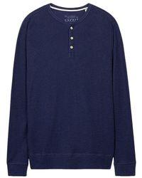 Esprit 106EE2K034 - Henley, Camisa Manga Larga Hombre, Azul (Navy), X-Small