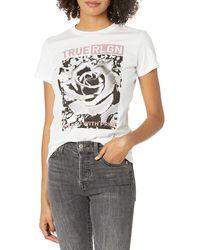 True Religion Bloomed Slim Fit Short Sleeve Crewneck Tee - White