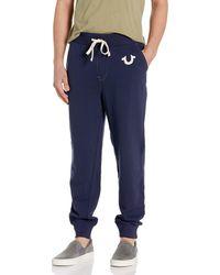 True Religion Classic Logo Navy Joggers - Blue