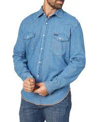 Wrangler Western Long Sleeve Snap Work Shirt Washed Finish - Blue