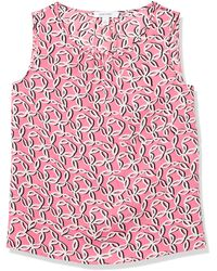 Nine West Sleeveless Printed Blouse with Ruched Neckline Hemd - Rot