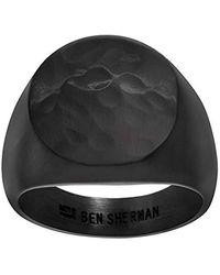 Ben Sherman London Logo Signet Ring for in Black IP Plated Stainless Steel (Various Sizes) - Schwarz