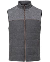 Hackett Mayfair Knitted Mix Gilet In Charcoal - Grey