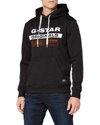 G-Star RAW Color Block Originals Logo Hooded Felpa con Cappuccio - Grigio