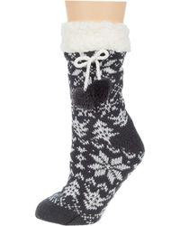 Columbia Fair Isle Moccasin Slipper Sock 1-pack Charcoal Sm/md - Grey