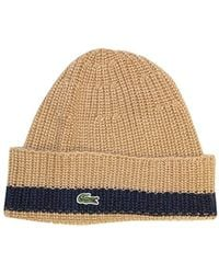 004d8112531 Lacoste - Rib Knitted Contrast Beanie - Lyst