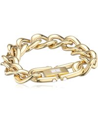 Tommy Hilfiger Gold-plated Stainless-steel Chunky Chain Bracelet White Enamel Flag On Closure - Metallic