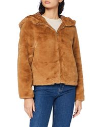 Vero Moda Vmthea Hoody Short Faux Fur Jacket Boos - Grey
