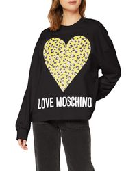 Love Moschino Sweatshirt_Animalier Printed Heart&Logo Sweat-Shirt - Noir