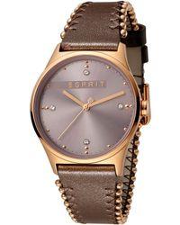 Esprit S Analogique Quartz Montre avec Bracelet en Cuir ES1L032L0045 - Marron