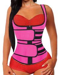 HIKARO Korsett Taillentrainer für Gewichtsverlust Abnehmen Body Shaper Sport Rosy Medium - Pink