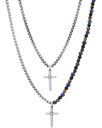 Steve Madden Stainless Steel Beaded Double Layer Cross Necklace For 25 And 27 Inch Box Chains - White