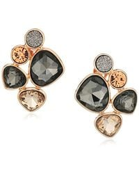Kenneth Cole - Supercharged Collection Rose Gold And Stone Cluster Clip-on Earrings, Black Diamond - Lyst
