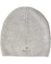 GANT D1. Solid Knit Hat Beanie - Grey