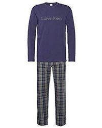 Calvin Klein L/s Pant Set Thermal Trousers - Blue