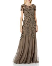 Adrianna Papell Floral Beaded Godet Gown - Multicolor