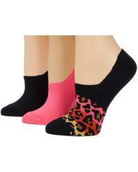 Converse 3-pair Pack Ombre Color-block Leopard Microfiber Liner Black/pink Assorted 4-10 Shoe - Multicolour
