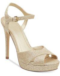 Guess S Jordie Metallic Glitter Dress Sandals Gold 10 Medium - Métallisé