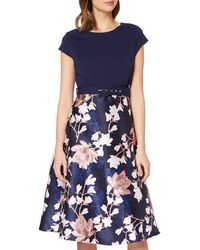 Dorothy Perkins Luxe Navy Floral Solid Bodice Belted Midi Dress Casual - Blue