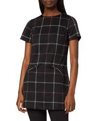 Dorothy Perkins Black And Wine Windowpane Tunic Shirt