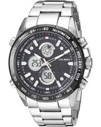Steve Madden Smw120bk Analog-digital Display Analog Quartz Silver Watch - Metallic