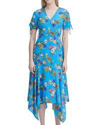 Calvin Klein Belted V-neck Dress - Blue