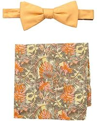 Tommy Bahama Solid Bow Tie And Jungle Pocket Square Set - Orange