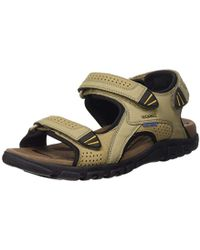 Geox U Sandal Strada WF C, Sandalias de Punta Descubierta para Hombre - Multicolor