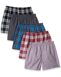 Hanes - 5-pack Tartan Boxer With Inside Exposed Waistband - Lyst