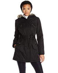 Kensie - Bonded Coat Quilt Lining Faux-fur Trim - Lyst