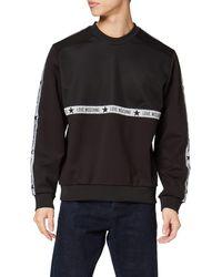Love Moschino Slim Fit Long Sleeve Sweatshirt_Net And Tape Logo Felpa, - Nero
