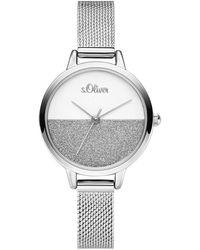 S.oliver Analog Quarz Uhr mit Edelstahl Armband SO-3745-MQ - Mettallic