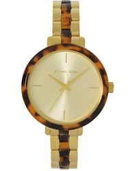 Michael Kors Analogue Quartz Watch With Gold Tone Stainless Steel Strap For - Metallic