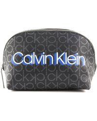 Calvin Klein Trousse à Make-Up Bag Black Monogram - Noir