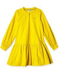Tommy Hilfiger Embroidery Anglais Dress L/s Vestido - Amarillo