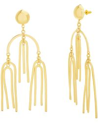 Steve Madden Yellow Gold Tone Three Tier Bar Design Dangle Earrings For - Metallizzato