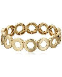 Kensie - Cherry Blossom Girl Gold-plated Hexagon Cutout Stretch Bracelet - Lyst