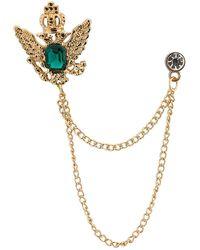 HIKARO Amazon Brand Golden Crown Stone With Hanging Chain Brooch Golden - Metallic