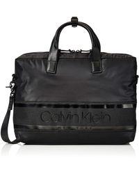 Calvin Klein Striped Logo Laptop Bag - Noir