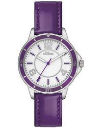 S.oliver Armbanduhr XS Analog Leder SO-2357-LQ - Mehrfarbig