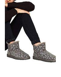 Esprit Winter-Boots mit Animal-Print, aus Leder - Grau