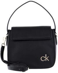 Calvin Klein Flap, Hobo W/FLLAP SM para Mujer, Black, 28 Inches, Extra-Large - Negro