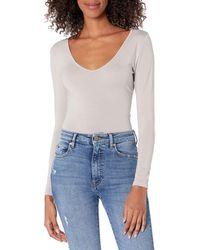 The Drop Patricia Long-sleeve Deep V-neck Second Skin Bodysuit - Blue