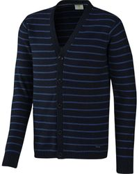 adidas Neo Slim Fit Striped Cardigan Jumper Navy Small/chest 33-35 Inch - Blue