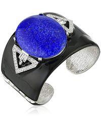 """Kenneth Jay Lane - Black Enamel Cuff Bracelet, 2.25"""" - Lyst"""