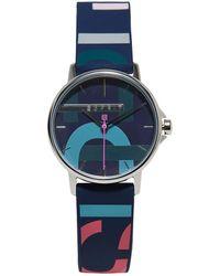 Esprit Montre en acier inoxydable avec bracelet en caoutchouc - Bleu