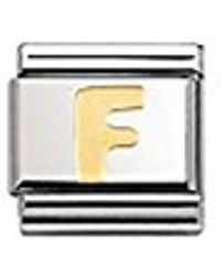 Nomination Composable Classic Letter F Stainless Steel And 18k Gold - Metallic