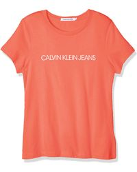 Calvin Klein Institutional Logo Slim Fit tee Camisa - Naranja