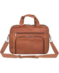 """Kenneth Cole Reaction Reaction Manhattan Colombian Leather Expandable Rfid 15.6"""" Laptop Business Briefcase Bag - Brown"""