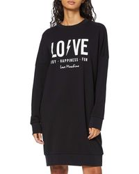 Love Moschino Long Sleeve Fleece Dress_Logo & Flash Print_Ribbed Bottom And Cuffs Vestito - Nero